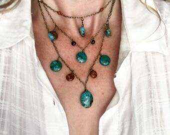 Genuine Kingman AZ turquoise, chrysacolla, red jasper, and red creek jasper necklace.
