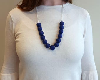 Navy blue teething necklace | Silicone beads| Nursing Necklace | Teething bead necklace for mom| Ready to ship