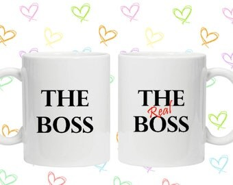 The boss / the real boss for him and her mug set 11oz wedding gift present