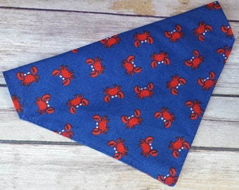 Crab Dog Bandana / Blue Dog Bandana / Dog Bandana / Cat Bandana / Summer Dog Bandana / Red Dog Bandana / Over the Collar / Dog Accessories
