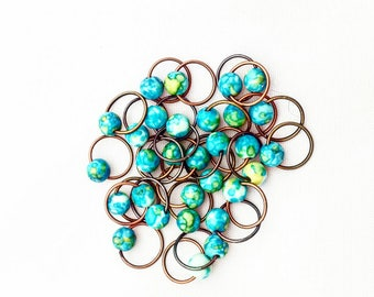 O-MY O rings// Blue & Green Knitting Markers// Stitch Markers// Progress Keepers