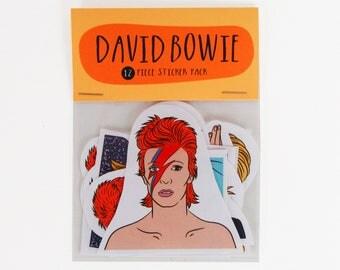 DAVID BOWIE , 12 piece sticker set, David Bowie stickers, Star Man, Ziggy Stardust, Aladdin Sane, Glam rock, Bowie sticker pack, Bowie gift
