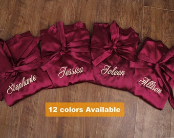 Bridesmaid Robes Set of 6, Bridesmaid Gifts set of 6, Monogram Bridesmaid Robe, Bridal Party Robes, Kimono Robes, Satin Robes, Bride Robe