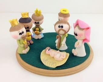 MIni Nativity Scene Cold Porcelain Nativity Set Christmas Decor Handmade Christmas Decor Christmas Gift Ideas