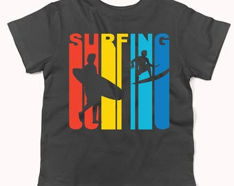 Retro 1970's Style Surfer Silhouette Surfing Infant / Toddler T-Shirt