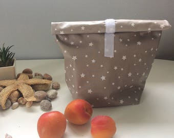 snack bag, waterproof lunch bag in coated cotton taupe starry