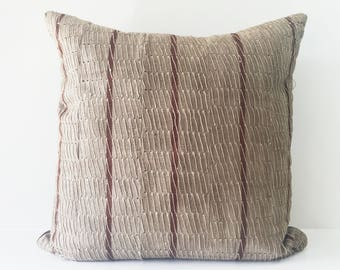 Crimson and Beige Colour, Vintage African Fabric Aso-Oke Pillow, High Quality Silk/Linen Back Fabric, Mud Cloth Style