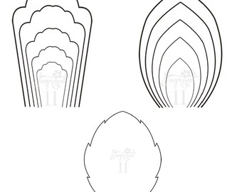 PDF. Set of 2 Flower Templates and 1 Leaf Template .Giant Paper Flower Template. Flower Wall.Printable Flower Template.Paper Flower Template