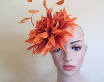 Orange Hat,Orange Pillbox Hat.Wedding Hat Orange,Wedding Hats Orange,Ascot Hat Orange,Orange Pillbox Hat,Pillbox Hat Orange ,Fascinators