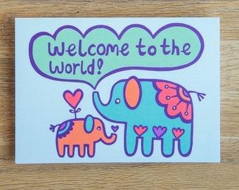 Elephant Newborn Card - Baby Card, Christening Card, New Baby Card, Elephant Card, Newborn Card, FREE SHIPPING!