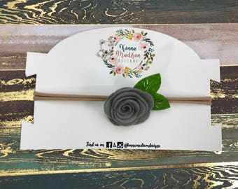 Small gray felt flower Headband