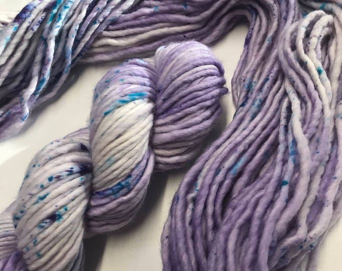 "100g Chunky SW Merino / Nylon Singles, hand dyed in Scotland, ""Parma Violet"", Purple, turquoise speckles, so soft and squishy!"