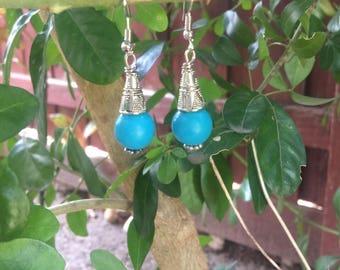 Turquoise Beaded Earrinsg, Handmade Earrings, Gemstone Earrings, Fashion Earrings,