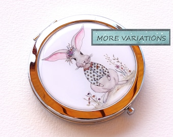 Bunny - Compact Mirror - Small Round Mirror - Magnifying Mirror - Cute Bunny  Mirror - Hand Mirror - Metal Mirror -  Rabbit Mirror - Pocket