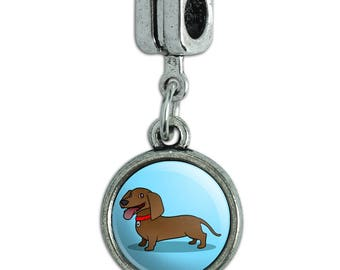 Dachshund Wiener Dog Cartoon Italian European Style Bracelet Charm Bead