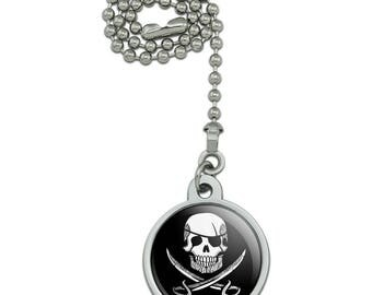 Pirate Skull Crossed Swords Tattoo Design Ceiling Fan and Light Pull Chain