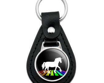 Unicorn Crossing Rainbow Black Leather Keychain