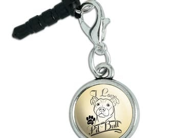 I Love My Pit Bull Mobile Cell Phone Headphone Jack Anti-Dust Charm fits iPhone iPod Galaxy