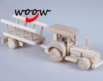 Wooden Toy Tractor Semitrailer