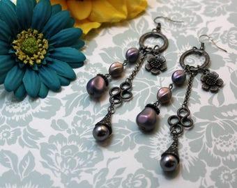 Dangle Earrings, Gunmetal Dangle Earrings, Purple Dangle Earrings, Flower Dangle Earrings, Earrings, Fish Hook Earrings, Chandelier Earrings