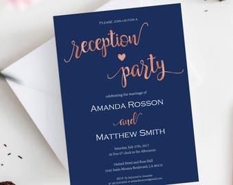 Wedding Reception Invitation Printable - Navy and Rose Gold Wedding - Reception Party - Wedding Printable -  Downloadable wedding #WDH812308