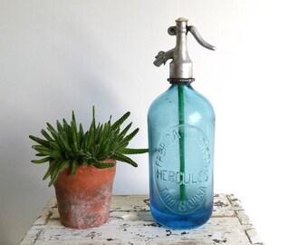 Unique blue antique Seltzer bottle 'Hercules'
