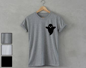 cute GHOST Shirt pocket print unisex T-Shirt hipster fashion party dope swag trending tee strange fun nope blogger instagram top