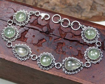 "Green Prehnite Bracelet, 925 Sterling Silver,Genuine Natural Prehnite Jewelry,Gift for her, jewelry Party Birthday Gift 8 1/4"" S1124"
