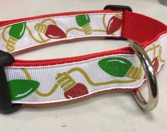Christmas Lights Dog Collar, Handmade, Dog Collar, Holiday, Pet,