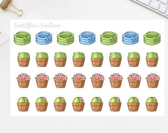 Gardening Plant Hose Cactus Functional Deco Stickers for Planner