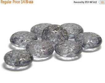 CLEARANCE Czech Glass Beads - Czech Button Beads - 13mm - Czech Coin Beads - Brocade Coin - Lentil Beads - Czech Beads - 8pcs (4283)