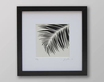 Printed picture of palm leaf