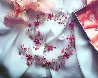 Hair vine crown hale wreath bridal bride wedding Swarovski crystal bridesmaid