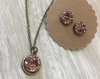 Druzy Necklace and Earring Combo