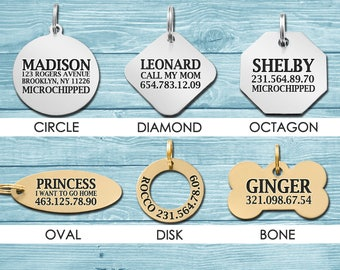 Dog Tag, Personalized Dog Tag, Pet ID Tag, Custom Dog Tag, Dog ID Tag, Custom Tag, Personalized Tag, Engraved Tag, Gold Plated, Brass, Steel