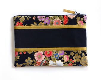 Clutch cosmetic bag / pouch, black gold flowers, toilet vanity
