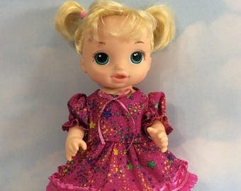 """Fuscia sparkling pink dress fits 12"""" baby Alive doll"""
