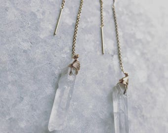 14K Gold Filled Threader Earrings with Wire Wrapped Crystal Quartz
