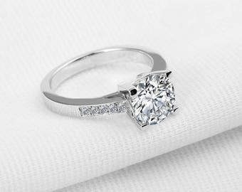 1.2 carat Brilliant Moissanite Engagement ring with natural diamonds in 18k white gold, Bridal Ring,Diamond Alternative engagement ring