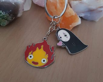 Calcifer & No face keyring, Studio Ghibli, Anime, Kawaii, Spirited Away, Howl's Moving Castle, Geek Gifts