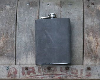Gray Leather Covered Flask / Gift for Him / Gift for Her / Manly Gift / Hip Flask / 8 oz Flask / Groomsmen Gift / Bridal Party Gift