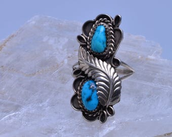Turquoise ring with silver setting - Size 10.5 - #156