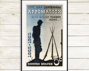 Large poster art: US civil war, civil war art, civil war posters, civil war postage stamps, US postage, USA stamps, United states art