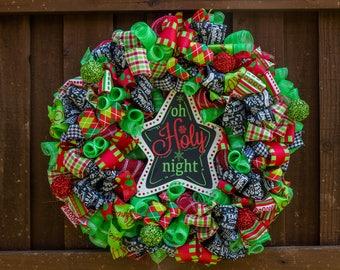 Christmas wreath for front door, Christmas door hanging, Star Wreath, deco mesh Christmas wreath, Christmas front door wreath, Oh Holy Night
