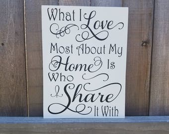 What I love most about my home is who I share it with, What I love sign, Love Sign, Family Sign, Sign for Family,  Home Sign, Sign for home