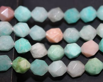 Full Strand , Star Cut Amazonite Beads Faceted, Natural Amazonite Beads 8 mm 10mm, 15 inches