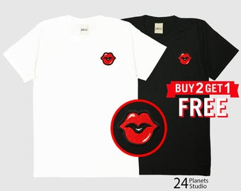 Red Lips Red Kiss Embroidered T-Shirt by 24PlanetsStudio Pocket Tshirt Tumblr Tee Women Men Unisex
