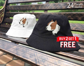 Pitbull Terrier Dog Embroidered Bucket Hat by 24PlanetsStudio