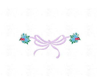 Instant Download - Machine Embroidery Pattern Designs File - Bow Flowers Design - Fits 4x4 Hoop - MULTIPLE FORMATS