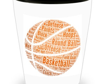 BASKETBALL SHOT GLASS! Basketball Word Cloud Shot Glass!!! Let him know how much you care with every shot! White Ceramic Shot Glass Gift!